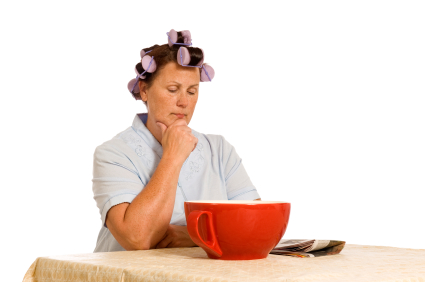 caregiver reading newspaper