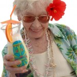 elderly traveler with drink